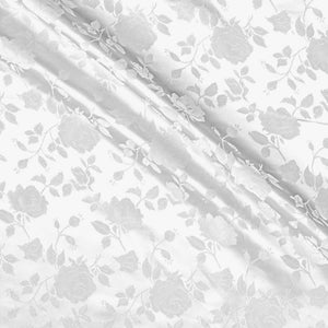 White Satin Jacquard Roses Fabric