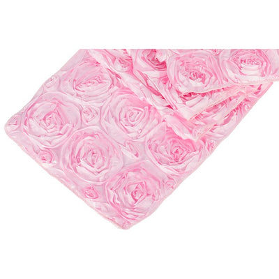 ( 3 Pack ) Pink Rosette Satin Table Runner