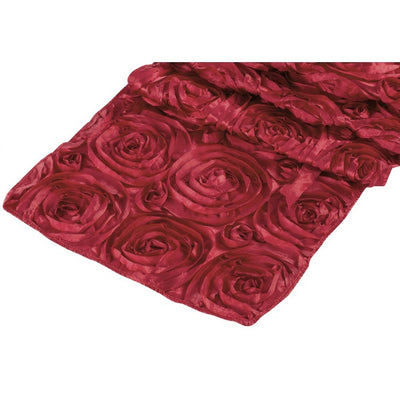 ( 3 Pack ) Apple Red Rosette Satin Table Runner