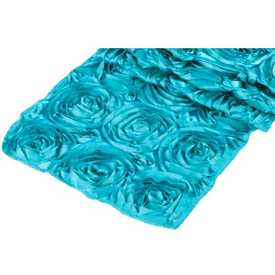( 3 Pack ) Aqua Blue Rosette Satin Table Runner
