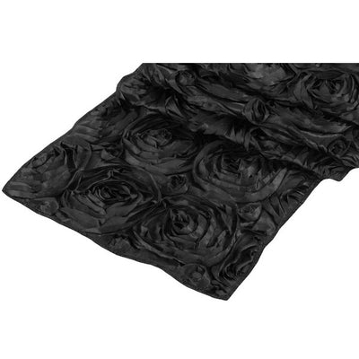 ( 3 Pack ) Black Rosette Satin Table Runner