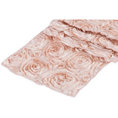 ( 3 Pack ) Blush Rosette Satin Table Runner