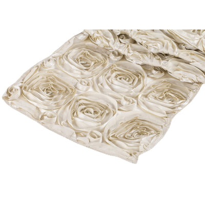 ( 3 Pack ) Champagne Rosette Satin Table Runner