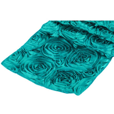 ( 3 Pack ) Dark Turquoise Rosette Satin Table Runner