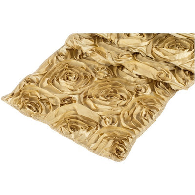 ( 3 Pack ) Gold Rosette Satin Table Runner
