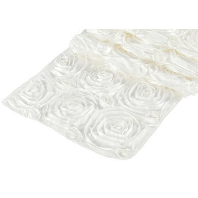 ( 3 Pack ) Ivory Rosette Satin Table Runner