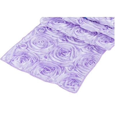 ( 3 Pack ) Lavender Rosette Satin Table Runner