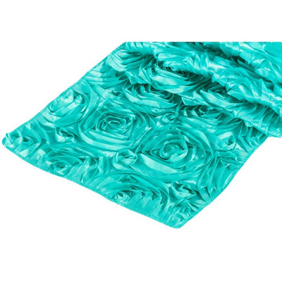 ( 3 Pack ) Light Turquoise Rosette Satin Table Runner
