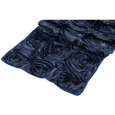 ( 3 Pack ) Navy Blue Rosette Satin Table Runner