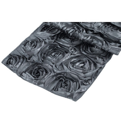( 3 Pack ) Charcoal Rosette Satin Table Runner