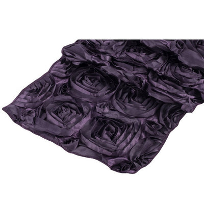 ( 3 Pack ) Eggplant Rosette Satin Table Runner