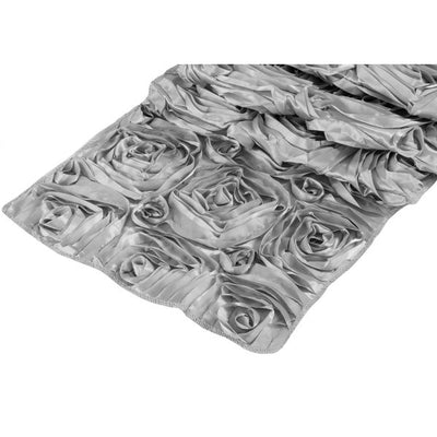 ( 3 Pack ) Silver Rosette Satin Table Runner