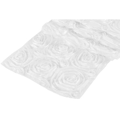 ( 3 Pack ) White Rosette Satin Table Runner