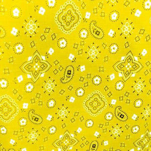 Yellow Paisley Bandana Poly Cotton Fabric