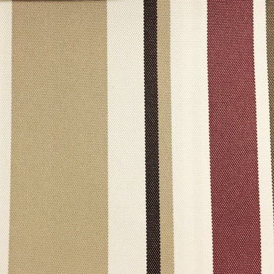 Burgundy Multi Stripe Canvas Waterproof Outdoor Fabric