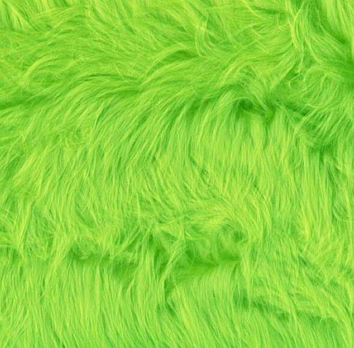 Neon Lime Luxury Shag Faux Fur Fabric