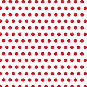 "1"" One Inch Red Dots on White Poly Cotton Fabric"
