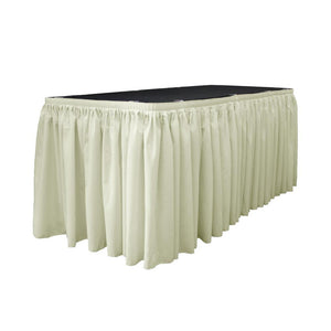 14 Ft. x 29 in. Ivory Accordion Pleat Polyester Table Skirt