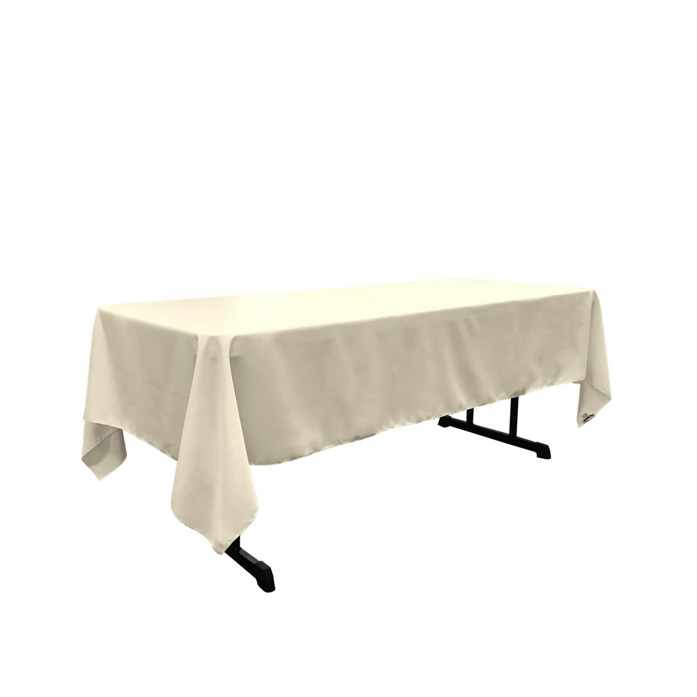 "Ivory 100% Polyester Rectangular Tablecloth 60"" x 108"""