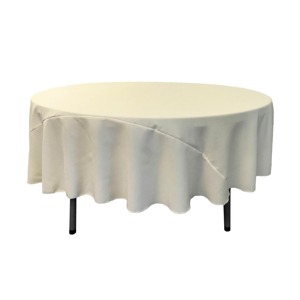 "90"" Ivory Polyester Round Tablecloth"