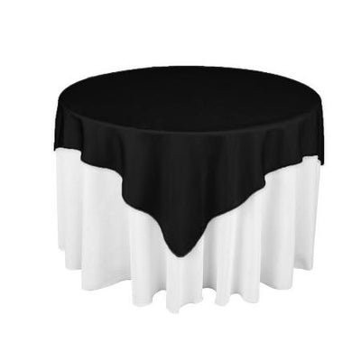 Black Square Polyester Overlay Tablecloth 60
