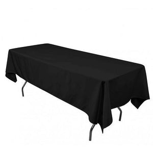 "Black 100% Polyester Rectangular Tablecloth 60"" x 126"""