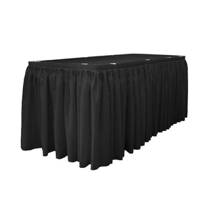 14 Ft. x 29 in. Black Accordion Pleat Polyester Table Skirt