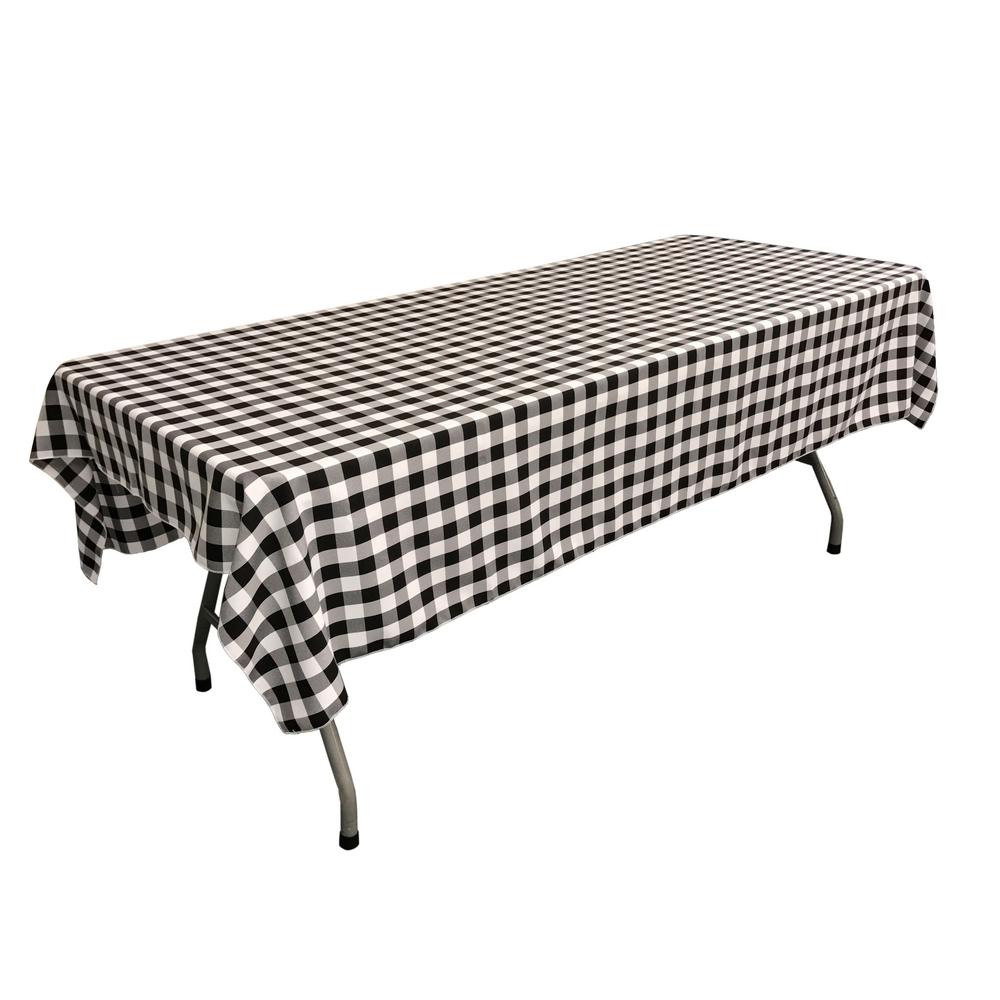 "Black Gingham Checkered Polyester Rectangular Tablecloth 60"" x 108"""