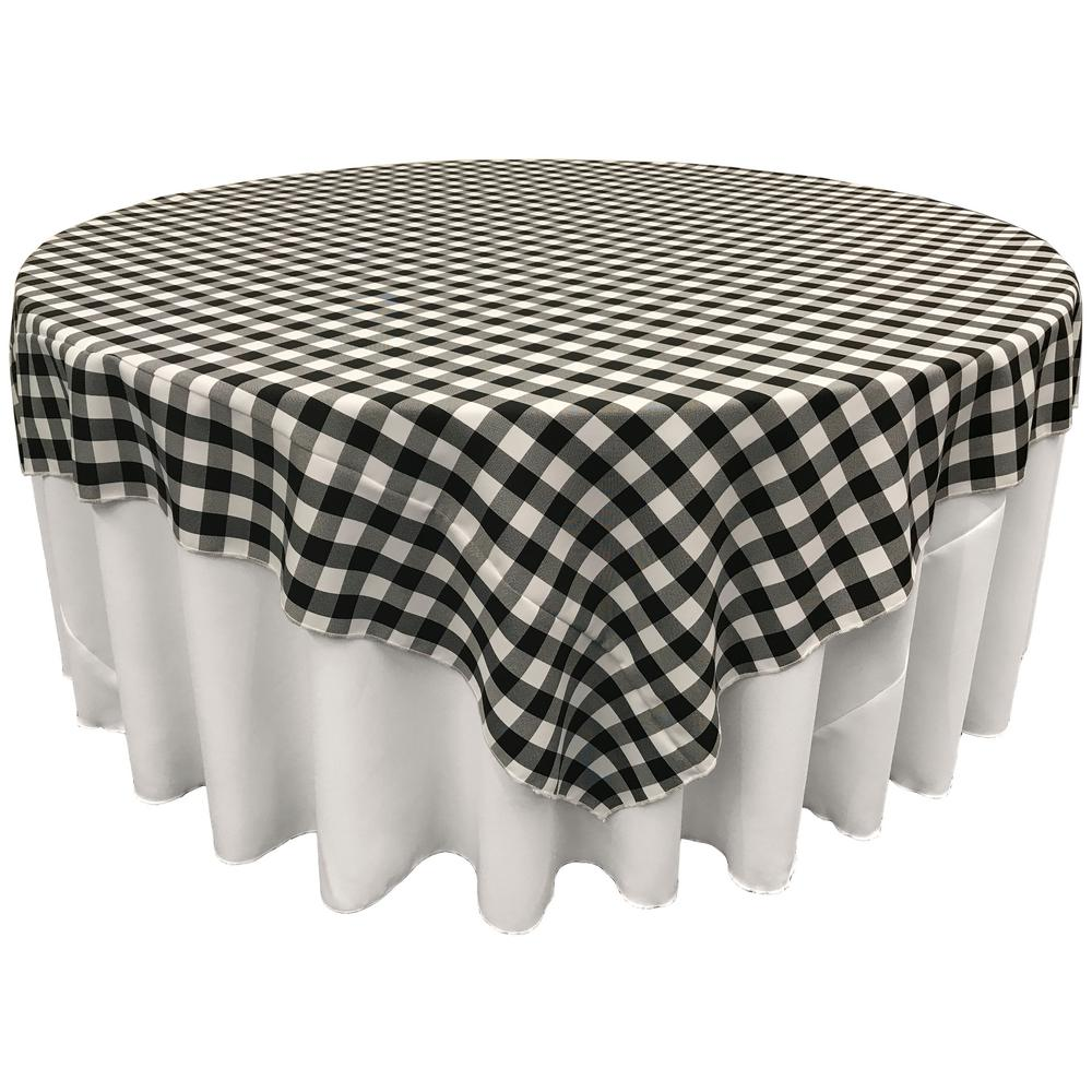 Black White Checkered Square Overlay Tablecloth Polyester 85