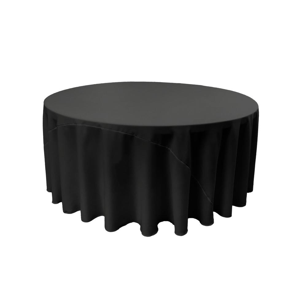 Jet Black 100% Polyester Round Tablecloth 120""