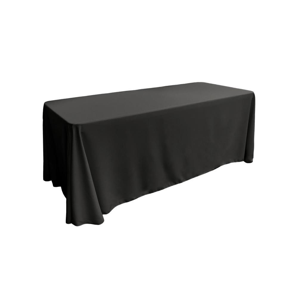 "Black 100% Polyester Rectangular Tablecloth 90"" x 156"""