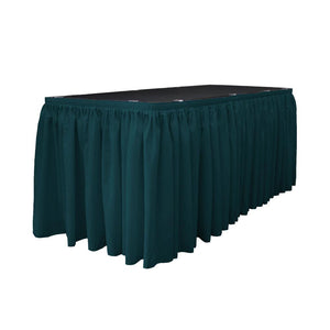 14 Ft. x 29 in. Dark Teal Accordion Pleat Polyester Table Skirt