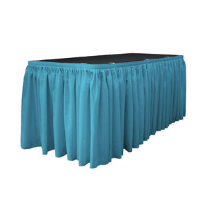 14 Ft. x 29 in. Dark Turquoise Accordion Pleat Polyester Table Skirt