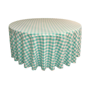 Mint Polyester Checkered Round 108""