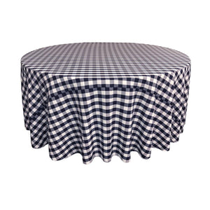 Navy Polyester Checkered Round 108""