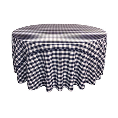 Navy Polyester Checkered Round 108