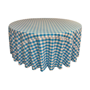 Turquoise Polyester Checkered Round 108""
