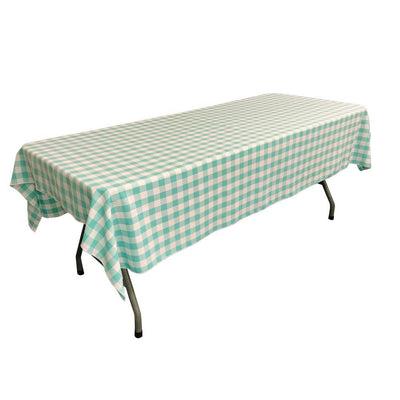 White Mint Gingham Checkered Polyester Rectangular Tablecloth 90