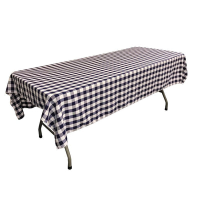 White Navy Blue Gingham Checkered Polyester Rectangular Tablecloth 90