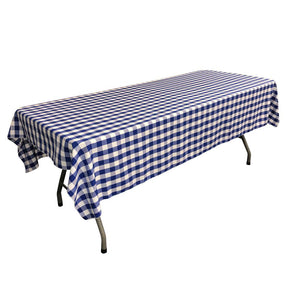 "White Royal Blue Gingham Checkered Polyester Rectangular Tablecloth 60"" x 108"""