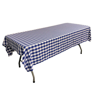 White Royal Blue Gingham Checkered Polyester Rectangular Tablecloth 60