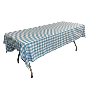 "White Turquoise Gingham Checkered Polyester Rectangular Tablecloth 60"" x 108"""