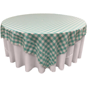 "White Mint Checkered Square Overlay Tablecloth Polyester 60"" x 60"""