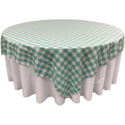 White Mint Checkered Square Overlay Tablecloth Polyester 85