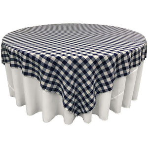 "White Navy Blue Checkered Square Overlay Tablecloth Polyester 60"" x 60"""