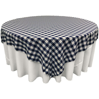 White Navy Blue Checkered Square Overlay Tablecloth Polyester 85