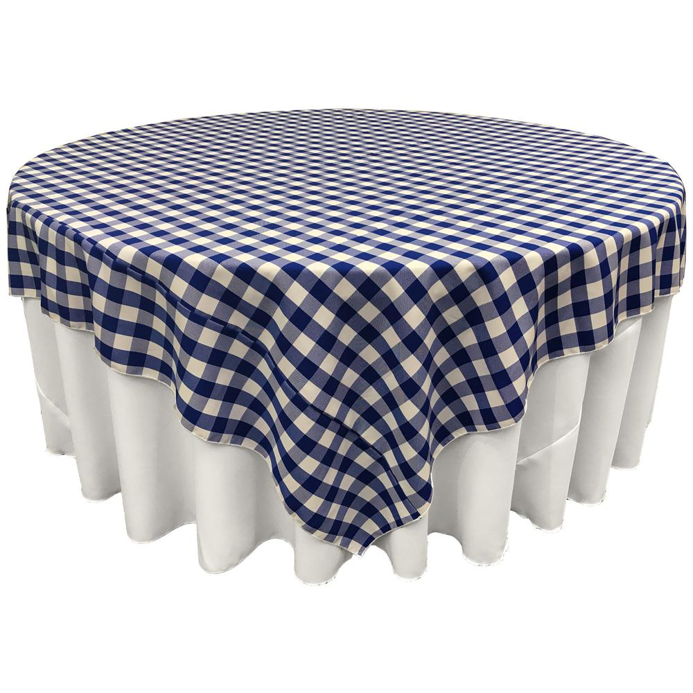 Blue White Checkered Square Overlay Tablecloth Polyester 60