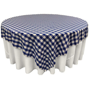 "Blue White Checkered Square Overlay Tablecloth Polyester 60"" x 60"""