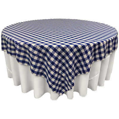 White Royal Blue Checkered Square Overlay Tablecloth Polyester 85