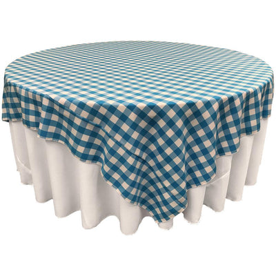 White Turquoise Checkered Square Overlay Tablecloth Polyester 85